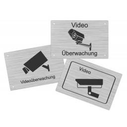 Edelstahlschild Videokamera