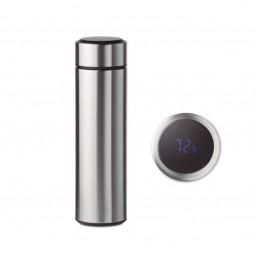 Isolierkanne aus Edelstahl mit integrierte Touchscreen LED Temperaturanzeige Farbe Silber