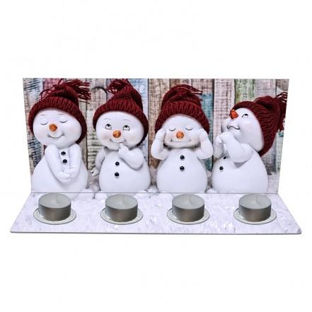 Weihnachts-Teelicht Schneemänner
